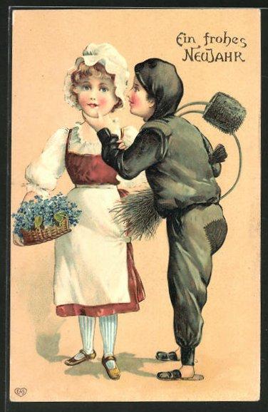 AK Neujahrsgruss, Schornsteinfeger mit Dienstmädchen