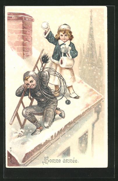 Präge-AK Bonne année, Mädchen wirft mit Schneebällen nach einem Schornsteinfeger