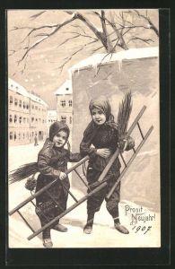 Präge-AK Prosit Neujahr!, Kleine Schornsteinfeger mit ihren Leitern