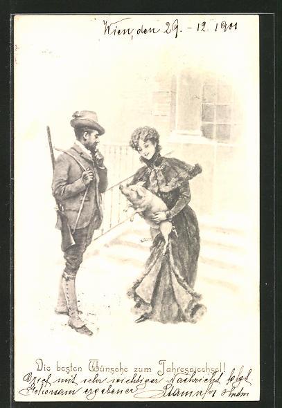 AK Neujahrsgruss, Dame mit Schwein unterhält sich mit dem Förster