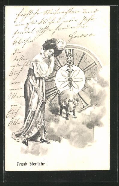 AK Neujahrsgruss, Dame mit Schwein vor einer Uhr