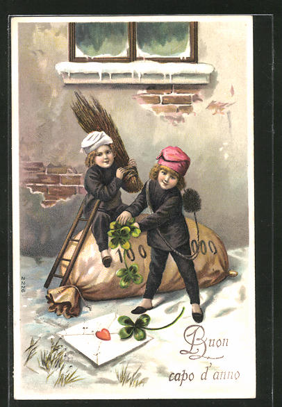 AK Schornsteinfeger auf riesigem Geldsack mit Glücksklee