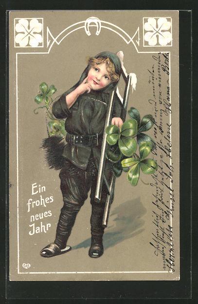 Präge-AK Neujahrsgruss, Kleiner Schornsteinfeger mit Leiter und Glücksklee 0