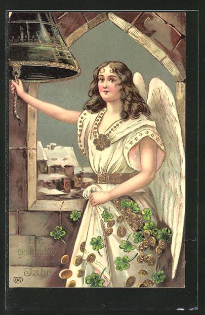 AK Neujahrsengel mit Geld und Kleeblättern läutet eine Glocke mit Goldverzierungen 0