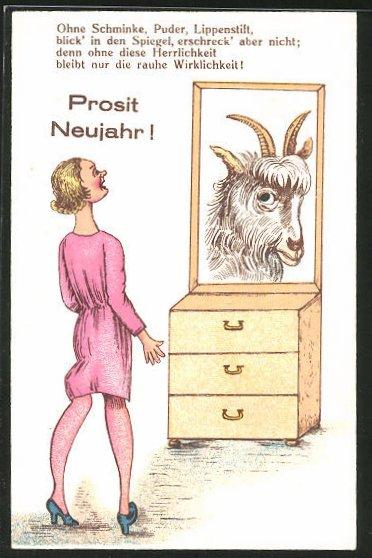 AK Frau sieht als Spiegelbild eine Ziege, frauenfeindlicher Humor