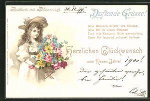 Duft-AK Neujahrsgruss mit Blumenduft, Mädchen mit Blumen