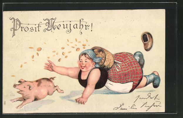 Präge-AK Neujahrsgruss, Bäuerin mit Geldkorb jagt einem Schwein hinterher