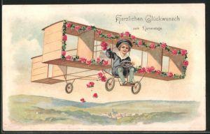 Präge-AK Namenstagsgratulant im Doppeldecker-Flugzeug