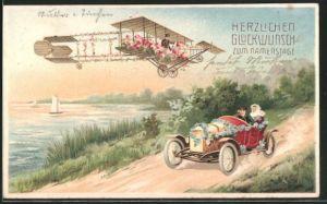 Präge-AK Namenstagsgratulant im Doppeldecker-Flugzeug und geschmücktes Auto