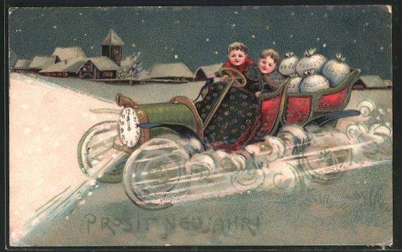 AK Kinder chauffieren ein Auto mit Geldsäcken und Uhr, die zwölf schläft, als Scheinwerfer,