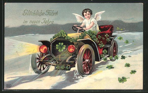 AK Neujahrsengel mit Glücksklee fährt im Auto durch die Nacht,