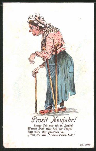 AK grimmig schauende, alte Frau mit Gehstock und Krücke, frauenfeindlicher Humor