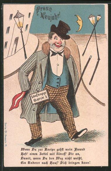 AK Mann mit Adress-Schild an der Hose, Trinkerhumor