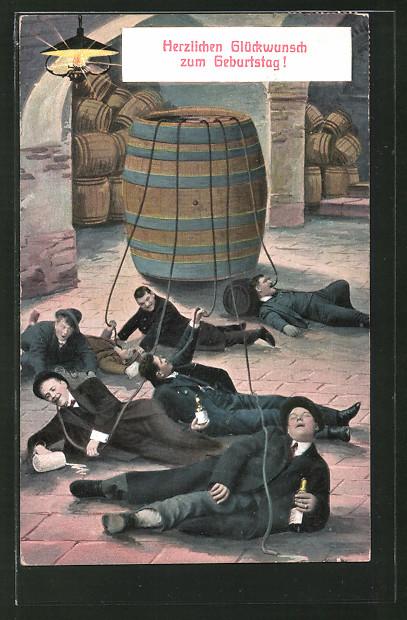 AK betrunkene Männer liegen mit Bierschläuchen auf dem Boden, Trinkerhumor