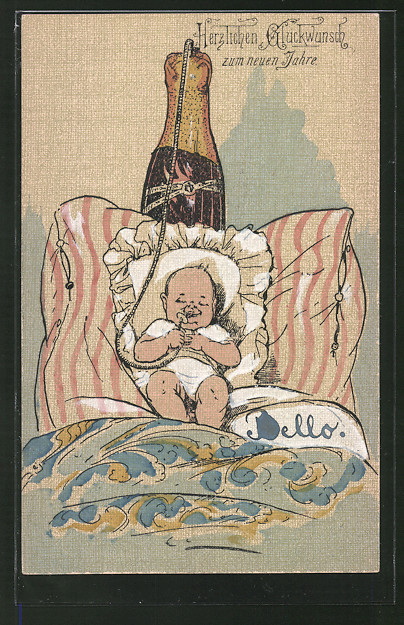 AK Baby hat einen Sektschlauch im Mund, Trinkerhumor