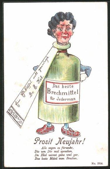 AK Frau in einer Flasche