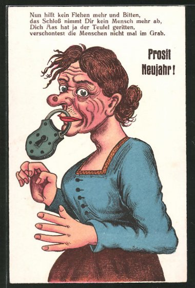 AK Frau mit verschlossenem Mund, frauenfeindlicher Humor