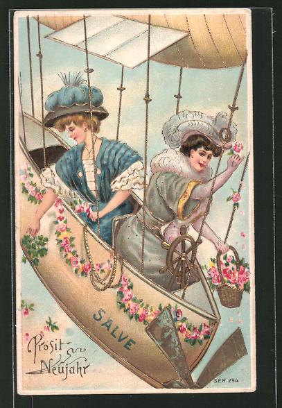 AK junge Frauen sitzen mit Blumen in einem Zeppelin mit Goldverzierungen