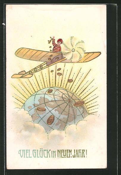 AK Knabe wirft Geld aus einem Flugzeug auf eine Weltkugel mit Goldverzierungen