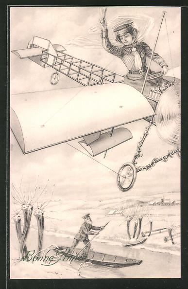AK Frau mit Sektglas in einem Flugzeug winkt einem Mann im Ruderboot zu