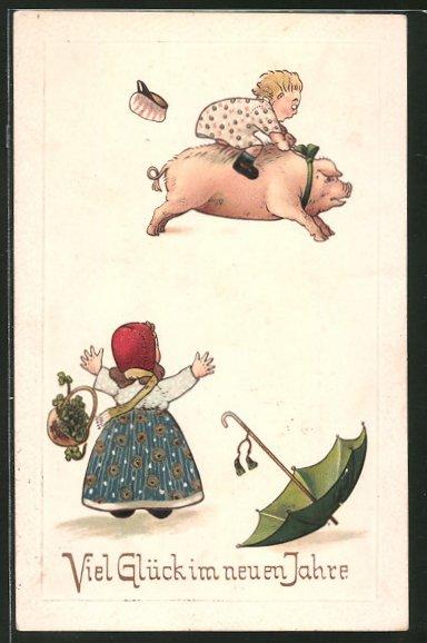 Präge-AK Viel Glück im neuen Jahre, Bub reitet auf Schwein
