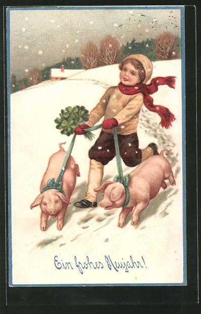 Präge-AK Ein frohes Neujahr, Knabe mit Klee und Schweinen