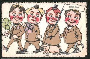 AK Männer führen Glücksschwein an der Leine,