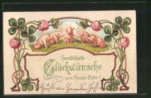 Lithographie Schweine auf der Wiese, Blumen und Klee, Glückwünsche zum neuen Jahr