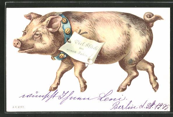 AK Neujahrsgruss, Schwein mit Glöckchenhalsband