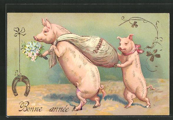 Präge-AK Bonne année, Schweine transportieren einen Geldsack