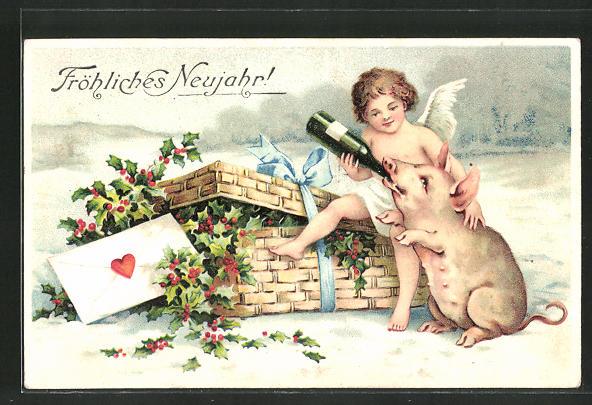 Präge-AK Neujahrsgruss, Engel gibt einem Schwein die Sektflasche