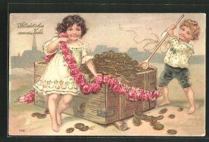 Präge-AK Neujahrsgruss, Kinder bei einer Kiste mit Geld