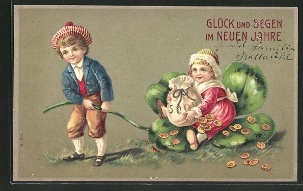 Präge-AK Neujahrsgruss, Mädchen mit Geldsack lässt sich auf einem Kleeblatt ziehen