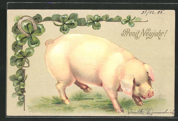 Präge-AK Prosit Neujahr!, Schwein und vierblättriger Klee