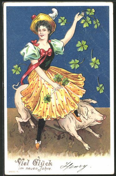 AK Junge Frau reitet auf einem Schwein ins neue Jahr