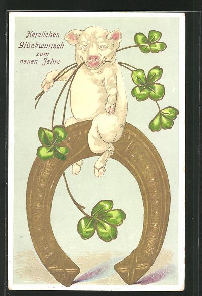Präge-AK Neujahrsgruss, Schwein mit Glücksklee auf einem Hufeisen