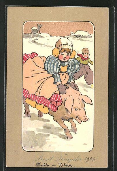 AK Mädchen reitet auf dem Schwein durch den Schnee,