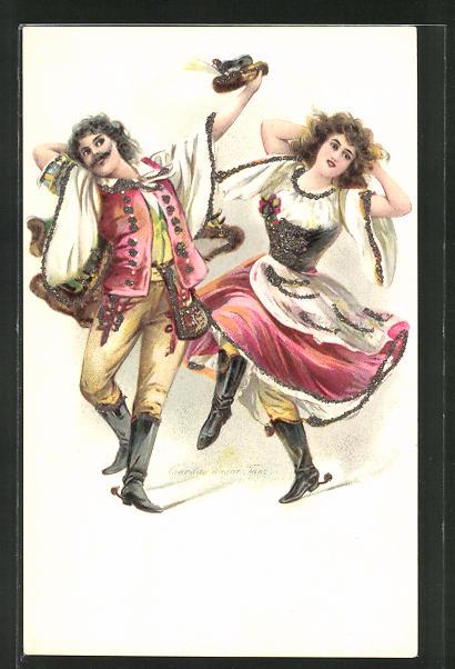 Glitzer-Perl-AK Mann und Frau beim Tanzen