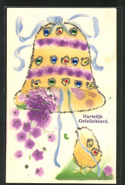 Glitzer-Perl-AK Küken läutet eine Glocke aus der Blumen fallen
