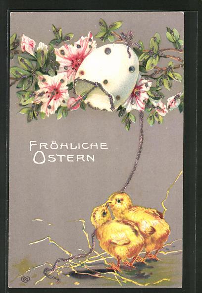 Glitzer-Perl-AK Osterküken läuten eine Eierschalen-Glocke mit Blumen