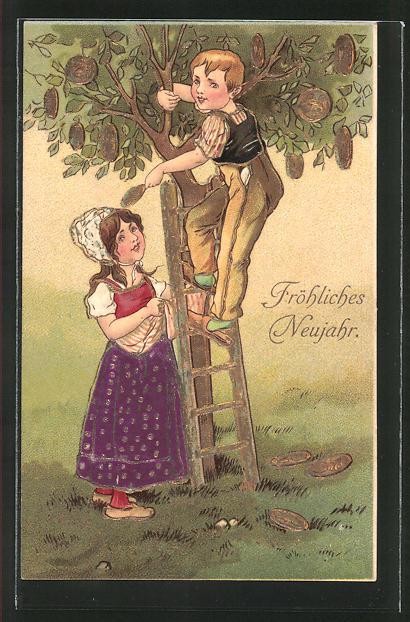 AK Knabe pflückt Geld von einem Baum mit Goldverzierungen