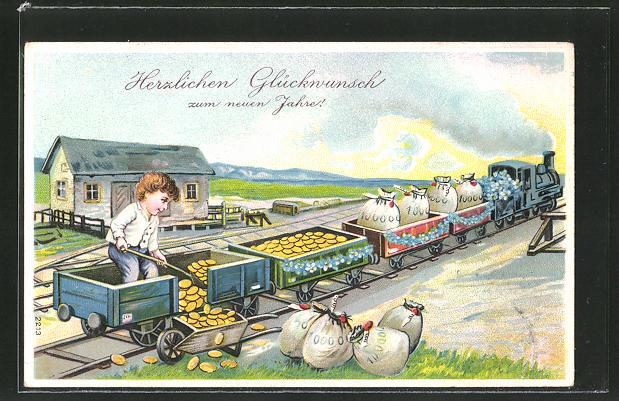 AK Knabe schaufelt Geld aus einem Eisenbahn-Wagon in einen Karren