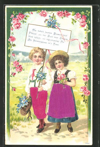 Stoff-Präge-AK Kinderpaar mit Blumen sendet Grüsse