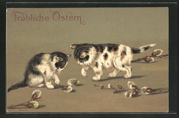 AK Katzen spielen mit Weidenzweigen