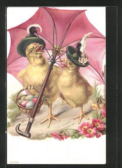 AK vermenschlichte Tiere, Osterküken unter einem Schirm spazierend