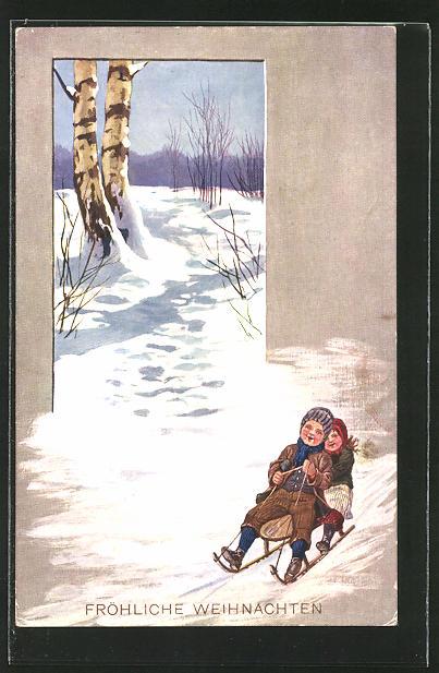 AK Kinder bei einer Rodelpartie auf ihrem Schlitten