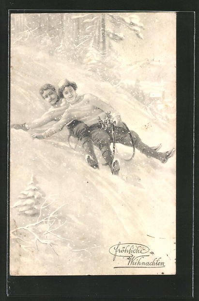 AK Paar rodelt auf ihrem Schlitten einen Hang hinunter