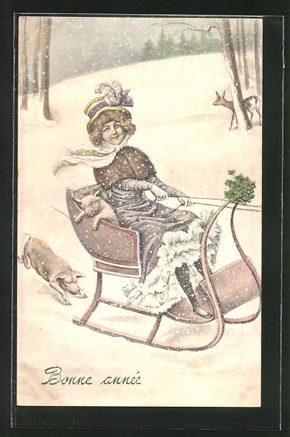 AK Dame im Schlitten mit Schwein