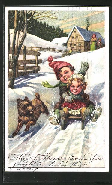 AK Kinder bei einer Rodelpartie mit Schlitten & Hund