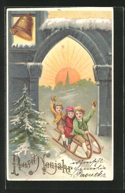 Präge-AK Kinder auf ihrem Schlitten rodeln durch ein Tor